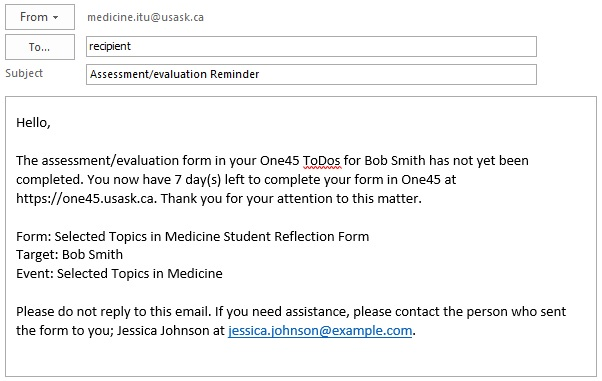 One Overview  Automatic Evaluation And Assessment Reminder Emails